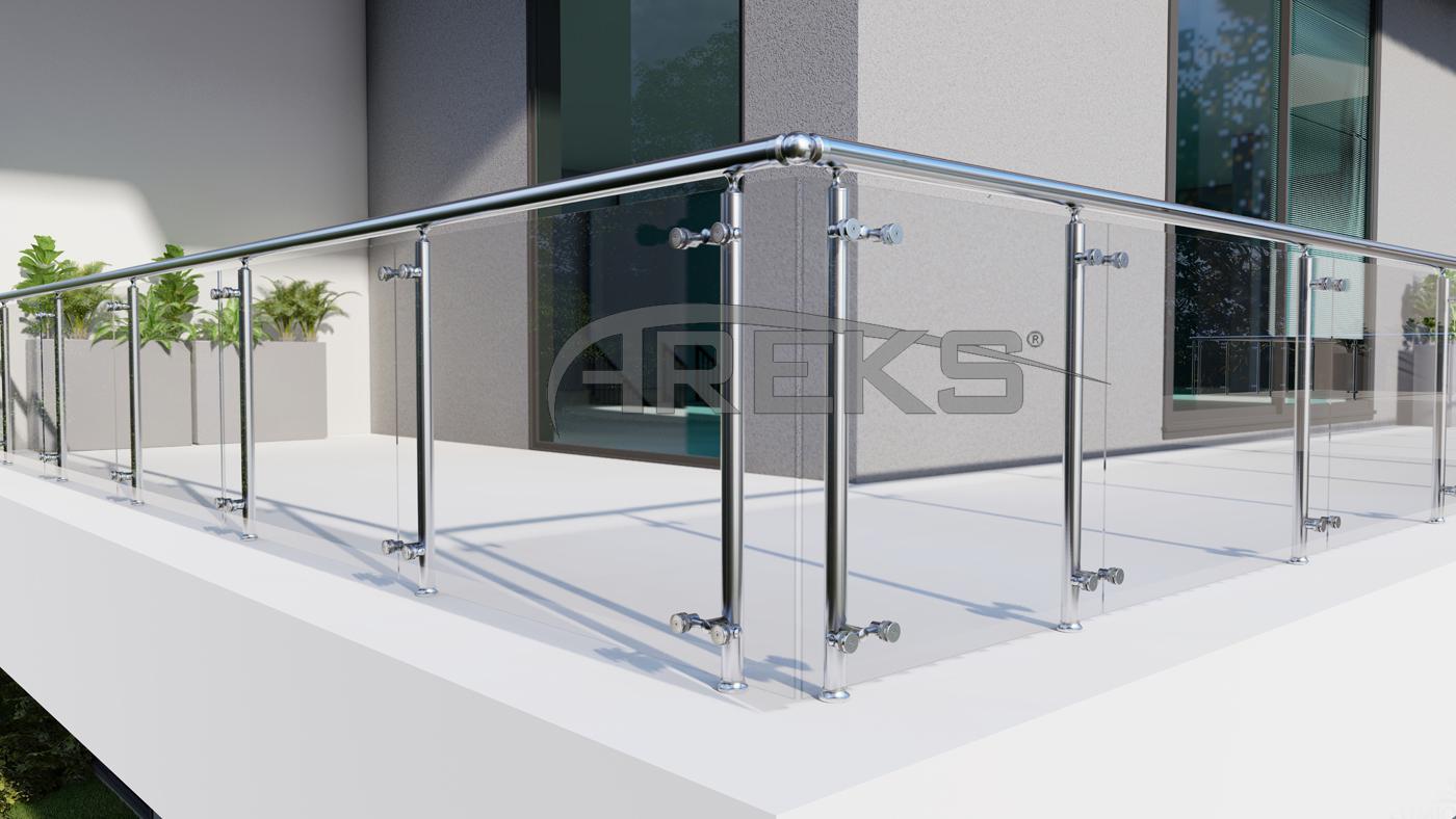 YUVARLAK KORKULUK UYGULAMA aluminium railing Aluminium glass railing Aluminium fence