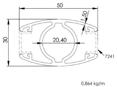 30x50 Elips Çift Kanallı Dikme Profili