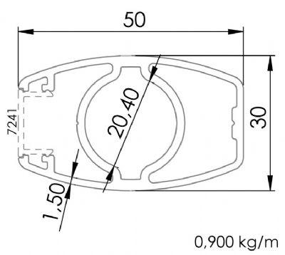 30x50 Elips Tek Kanallı Dikme Profili